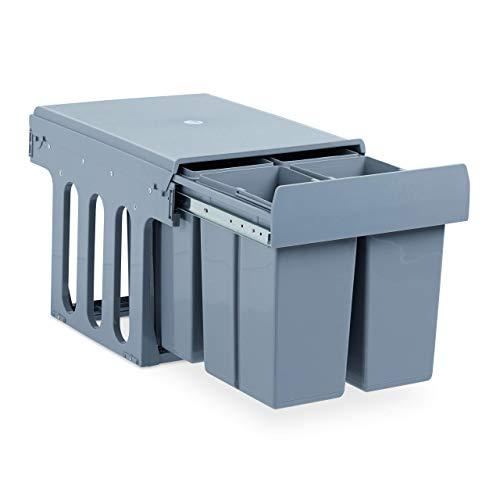 Relaxdays Einbaumülleimer Küche, Auszug, Müllsystem Unterschrank, Kunststoff, 4x je 8 Liter, HBT: 35