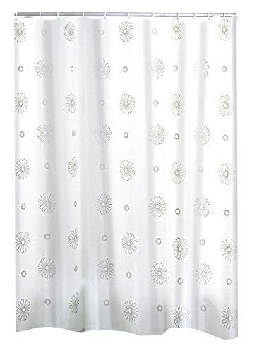 RIDDER Duschvorhang Textil Cosmos inkl. Ringe Silber 180x200 cm