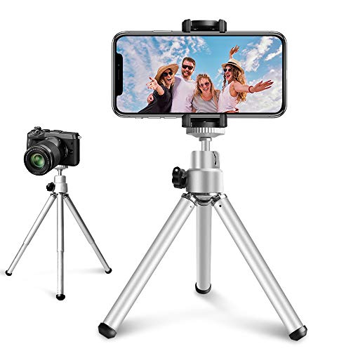 Mini Tripod for iPhone, 6 Inch Extendable Phone Tripod Stand Holder for Live Broadcast and Selfie, Compatible with iPhone/Android/DSLR Camera