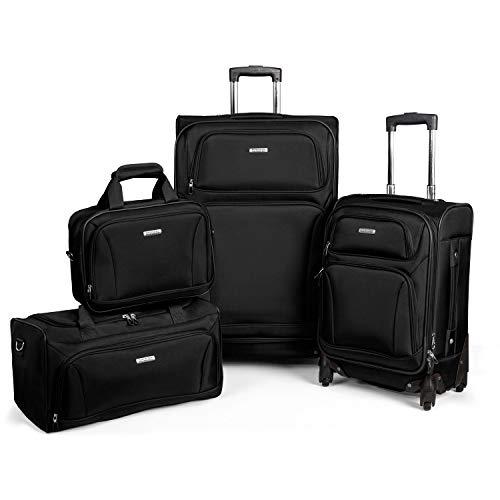 AMERICAN TOURISTER Premium 4 Piece Lightweight 1680D Set (20,28 Spinner, Boarding & Duffel) Black