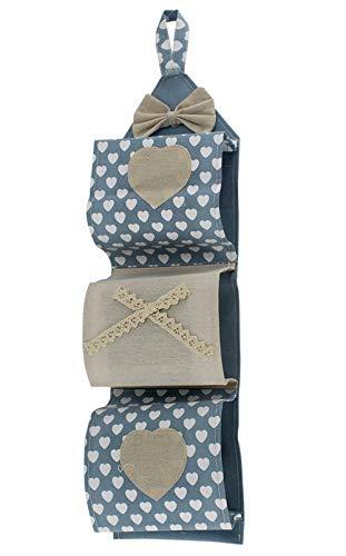 Vetrineinrete® Portarotolo in tessuto da appendere 3 posti porta rotoli carta igienica da muro stile shabby chic bagno (Celeste) M36