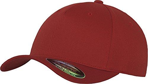 Flexfit 5 Panel Baseball Cap - Unisex Mütze, Kappe für Herren und Damen, einfarbige Basecap, rundum geschlossen - Farbe red, Größe S/M