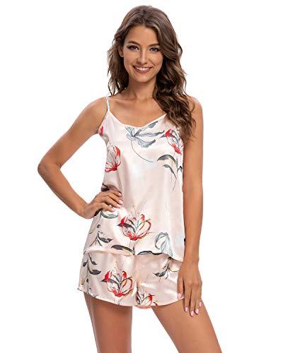 GOSO Pijama de satén para Mujer con Sin Mangas y Cortos Pantalones Ropa de Dormir Conjuntos Pijama para Mujer de salón Suave