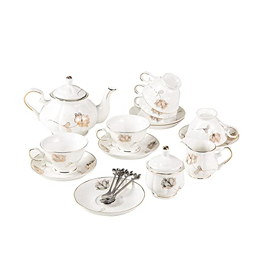 english tea set for adults 21-Piece Porcelain Ceramic Coffee Tea Gift Sets, Cups& Saucer Service for 6, Teapot, Sugar Bowl, Creamer Pitcher and 6 Teaspoons.