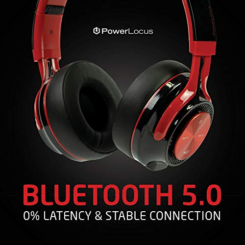 PowerLocus P3 Bluetooth Headphones Over-Ear, [40h Playtime, Bluetooth 5.0] Wireless Hi-Fi Stereo Headphone, Foldable with Mic, Deep Bass, Wired Mode for Cell Phones/Laptop/PC/TV (Black/Red) 9