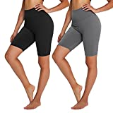 Campsnail Radlerhose Damen Kurze Leggings High Waist Hotpants Unterhose Blickdicht Sportshorts Sommer für Yoga Joggen Pilates Fitness(2er-Schwarz&Dunkelgrau, S-L)
