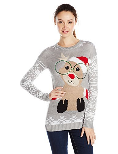 Derek Heart Junior's Reindeer Jacquard Tunic Pullover Ugly Christmas Sweater, Silver, Medium