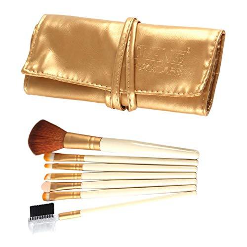 SM SunniMix Set Pinceaux de Maquillage - Kit Kabuki Fond de teint, Poudre, Fard à Joues, 7pcs Makeup Brush Pinceaux pour Yeux et Visage - d'or