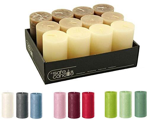 Velas de gran calidad y rústicas – 12 unidades – SafeCandle – Velas de cera/Rustickerz/Adviento velas Navidad (Nature Color-Mix, estándar: altura 11 cm / diámetro 6 cm)