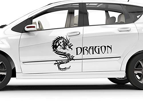 GrazDesign Autosticker, Dragon Tribel, draak, motorkap, bloemenmotief, set op blad 053, lichtblauw