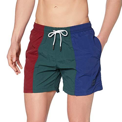Urban Classics 3-Tone Swim Shorts Baador para Hombre, Burgundy/Bottlegreen, XXL