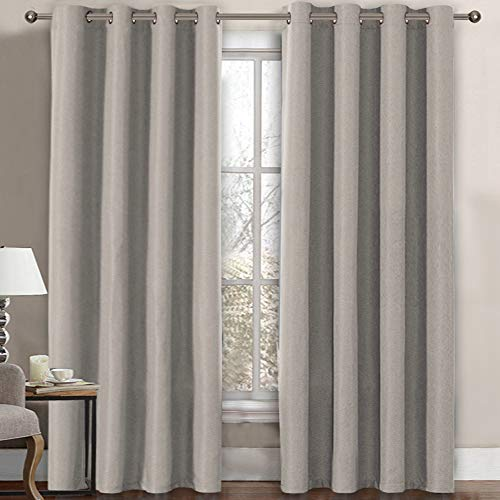 Linen Blackout Curtain 84 Inches Long for Bedroom / Living Room Thermal Insulated Grommet Linen Look Curtain Drapes Primitive Textured Burlab Effect Window Drapes 1 Panel - Taupe