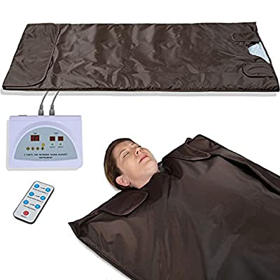 Healthy Home Helper Portable 2 Zones Infrared Sauna Blanket for Home and Indoor Personal Use. Heated Mat Body Shaper, Warm Wrap Sweat Suit Helps to Relax. Heavy Duty Professional Grade