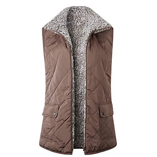 Dames Warm Kunstmatige Wol Gilet Jas Draag Aan beide kanten Winterharige Jas Bovenkleding voor Winter Reizen, Wandelen (Kleur : Khaki, Maat : S - XL)