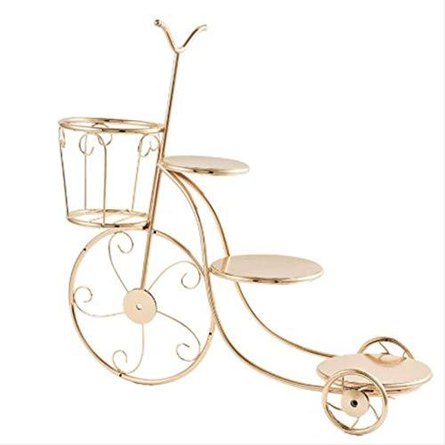 MMSM Soporte bronceadores Retro de la Flor, de Cuatro Capas en Forma de Bicicleta del Metal Noble Soporte de la Planta Simple, Conveniente para la Sala de Estar, Dormitorio, jardín Balcón,Oro
