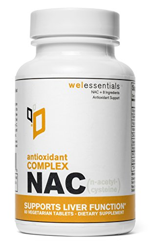 WelEssentials NAC Antioxidant Complex - 600m N-Acetyl-Csteine x 60 Veg Capsules - with Vitamin C, Selenium, Molybdenum and Zinc - Supports Liver Function