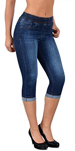 ESRA Damen Capri Jeans Hose Damen Caprihose Jeanshose mit Gummibund Caprijeans bis Übergröße J460