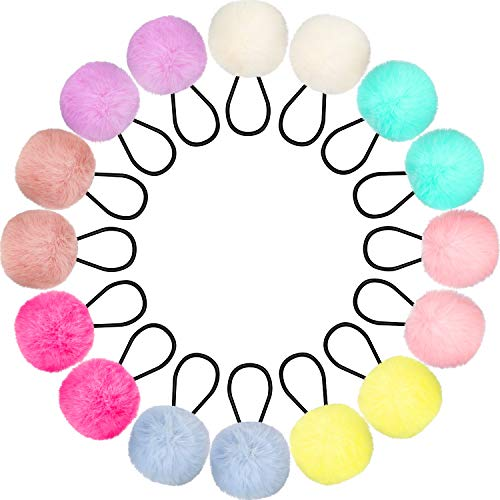 16 Stücke Pom Haargummis Pompon Ball Elastisches Haarband Fellknäuel Flauschige Pferdeschwanz Halter für Frauen Mädchen Kinder Haarschmuck, 8 Farben