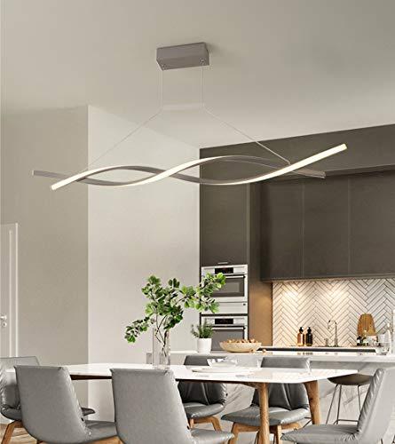 LED Colgante de luz Regulable con control remoto Lámpara colgante Moderno Espiral Diseño Candelabro para Isla de cocina Bar Mesa de comedor Sala de estar Loft Oficina Lámparas de araña (Gris, L120CM)