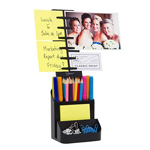NoteTower Desk Supplies Organizer Caddy, Black – Displays Photos & Organizes Sticky Notes – Sticky Notes Included