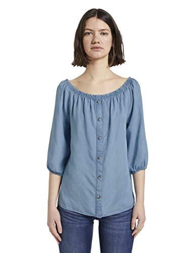 TOM TAILOR Denim Damen Carmen T-Shirt, 10151-light Stone Bright b, XS