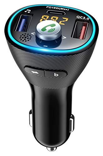 Cocoda Transmetteur FM Bluetooth 5.0, Kit Main Libre Voiture avec PD 18W USB-C & QC 3.0, Lumière Bleue & Amplificateur de Basse, Adaptateur Bluetooth Voiture Support Clé USB Siri Assistant Google