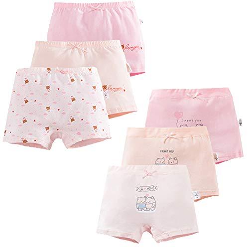 US Sense 6er Pack Kinder Mädchen Unterhosen Hipster Mädchen Baumwolle Pantys Unterwäsche Boxershorts Slips Schlüpfer Größe 2-12 Jahre (6-9 Jahre,602-4XL)