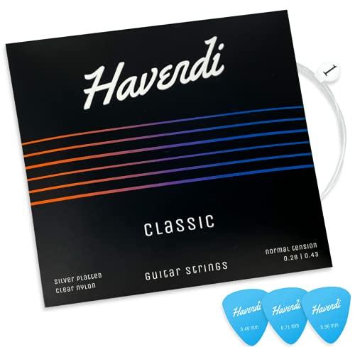 HAVENDI® Premium Gitarrensaiten für Konzertgitarre - brillante Klangqualität Saiten aus Nylon für klassische Gitarre mit Silber ummantelt (6 Saiten-Set) inkl. 3 Plektren