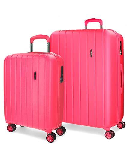 Movom Wood Juego de maletas Rosa 55/65 cms Rígida ABS Cierre TSA 111L 4 Ruedas Dobles Equipaje de Mano