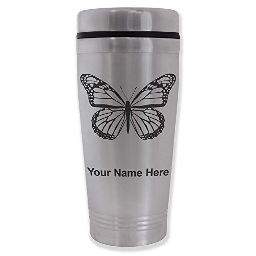 Commuter Travel Mug, Monarch Butterfly, Personalized Engraving Included