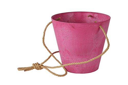 Artstone Pflanzgefäß Blumenampel Claire, frostbeständig und leichtgewichtig, Pink, 17x15cm