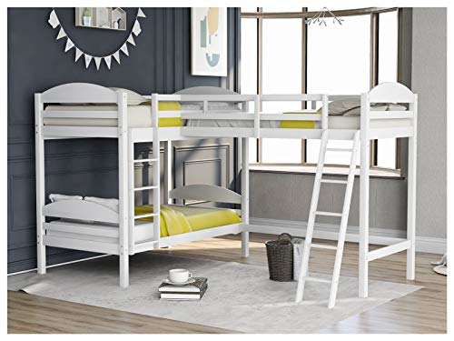 Pinewood -Twin L-Shaped Bunk Bed and Loft Bed with Full Guardrails and Flat Ladder for Family Bedroom and Student Apartment U.s. Local Delivery Goods Can Arrive Quickly (Color : White)