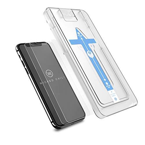 Wicked Chili 2X Panzerglas kompatibel mit Apple iPhone 11 Pro, iPhone XS/X mit Schablone zur Positionierung, Schutzfolie, Panzerfolie, Displayschutz, Schutzglas, Handy-Hülle kompatible Folie