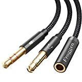 Froggen Cable Separador de Audio y Micrófono, Cable Adaptador Jack Hembra 3.5mm a Jack Doble Macho, Adaptador Auriculares y Micrófono, para Gaming Headset, PC o Laptop(35cm)