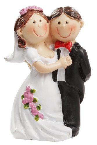 Hochzeitspaar * Brautpaar mit rosa Rosen am Kleid * ca. 5cm groß * Tortendekoration * Tortenfigur * Tischdekoration