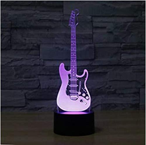Elektrische Gitaar 3D Visuele Lamp Optische Illusie LED Nachtlampje Touch Tafel Bureaulamp met 16 Kleuren LED Kinderlamp Via USB of Op Batterijen