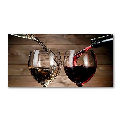 Tulup Impresión en Vidrio - 140x70cm - Cuadro Pintura en Vidrio - Cuadro en Vidrio Cristal Impresiones - Alimentos y Bebidas - Rojo - Dos Copas de Vino