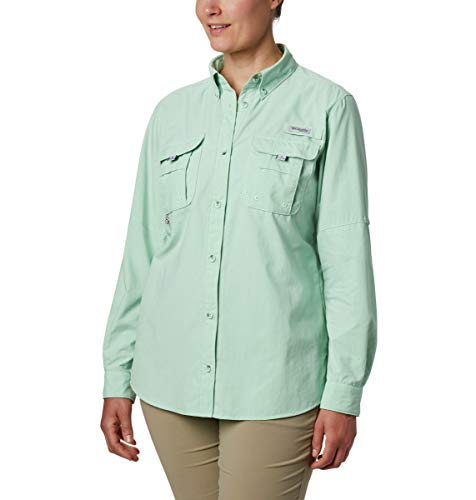 Columbia Damen Bahama Langarmshirt, Damen, PFG Bahama Long Sleeve UPF 30 Breathable Fishing Shirt, New Mint, Large