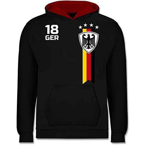 Fußball-Europameisterschaft 2021 Kinder - WM Fan-Shirt Deutschland - 128 (7/8 Jahre) - Schwarz/Rot - Kinder Fussball Trikot rot - JH003K - Kinder Kontrast Hoodie
