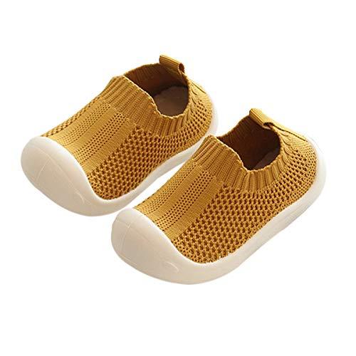DEBAIJIA Zapatos para niños pequeños 1-5T Baby First-Walking Kid Deporte Suela Suave Malla Antideslizante Entrenador Transpirable 23/24 EU Amarillo(Tamaño de Etiqueta 22)