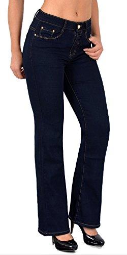 ESRA Jean Femme Bootcut Jean pour Femmes Pantalon en Jean Femme Noir et Bleu Grande Taille J111