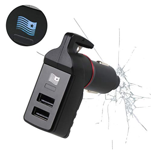 Ztylus Special Design Stinger USB Emergency Escape Tool: Life-Saving Rescue Car Charger, Spring Loaded Window Breaker Punch, Seat Belt Cutter, Dual 2.4A USB Ports (Blue American Flag)