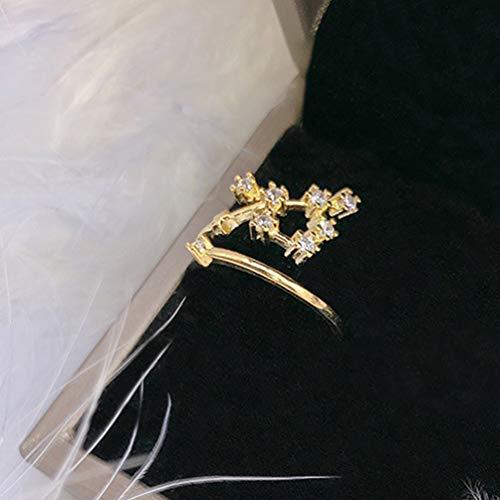 Stella Fashion Micro Diamanten Ring Maand Constellatie Weegschaal Gemini Stier Kanker Ringen Verloving Bruiloft Verstelbare Opening Sieraden (Geen Boogschutter)