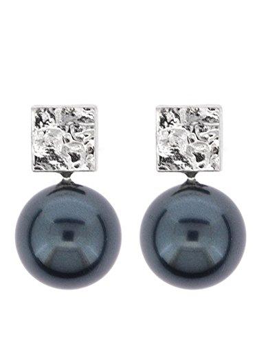 Córdoba Jewels |Pendientes en plata de ley 925 y perla. Diseño Tú y Yo Square Perla Tahití