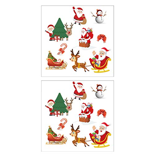 Artibetter 2 Hojas de Hierro en Parches de Navidad Bordado Cosido Aplique Media de Navidad Santa Muñeco de Nieve para Artesanía Ropa Decoración DIY