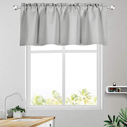 KEQIAOSUOCAI Grey Window Valances for Kitchen 52W x 18L-Light Gray Valances for Basement Bathroom