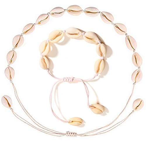 kuou 2 Pcs Shell Necklace Bracelet, Shell Bracelet Shell Necklace Choker Shell Bracelet Shell Clavicle Necklace Natural Shell Choker for Women