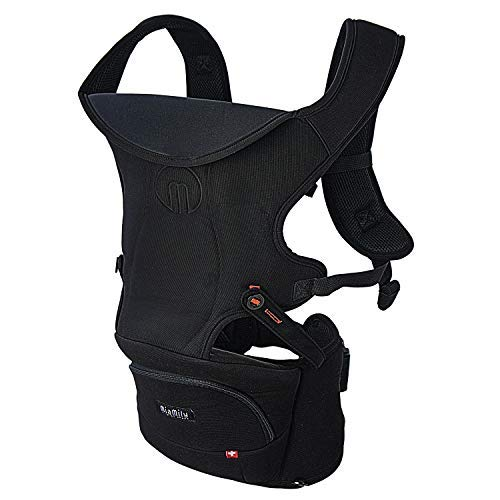 MiaMily Hipster Essential Baby Carrier  3 Carry Positions Ergonomic Design Provides Hip Support to Child Black