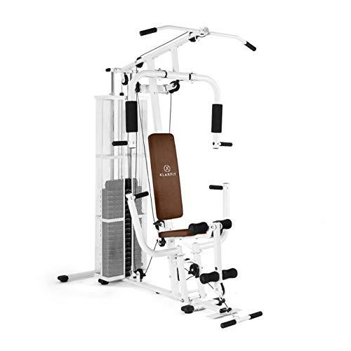 Klarfit Ultimate Gym 3000 White Edition - Multiestación de musculación, Entrenamiento Fitness, Ejercicios de Remo, Hombros, Espalda, Brazos, isquiotibiales y glúteos, Acolchada, Baja fricción, Blanco