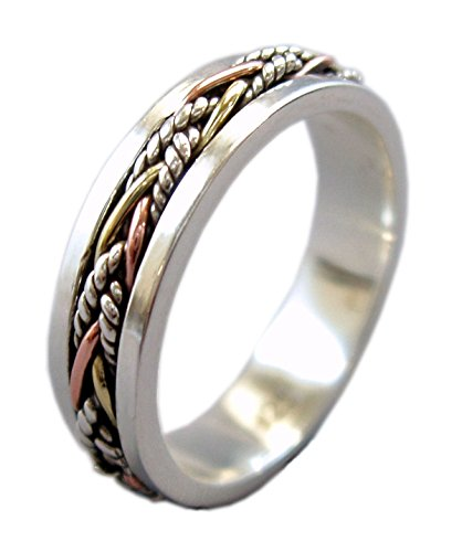 Energy Stone Twine 5.5 mm Narrow Band Tri-Color Sterling Silver Meditation Spinner Ring...